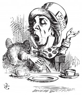 "The Mad Hatter, ""Why is a raven like a writing desk?"""
